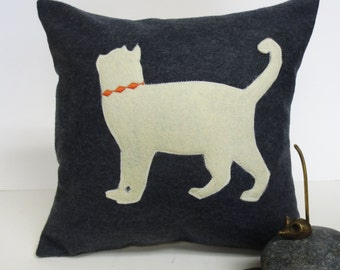 Grey Felt Pillow Cover with Ivory Cat silhouette - Decorative Accent Cushion