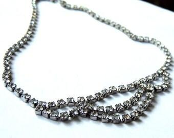 Vintage Rhinestone Necklace Bib Wedding Vintage Jewelry