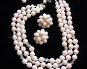 Vintage-50s-60s-Triple strand necklace-clip ons-earrings-Retro-powder pink-beads-A B-glass-beads-Signed