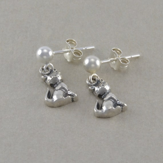 Cat earrings kitten kitty sterling silver by for Sterling silver christmas jewelry
