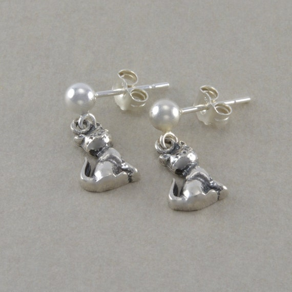 Cat Earrings Kitten Kitty Sterling Silver by ...