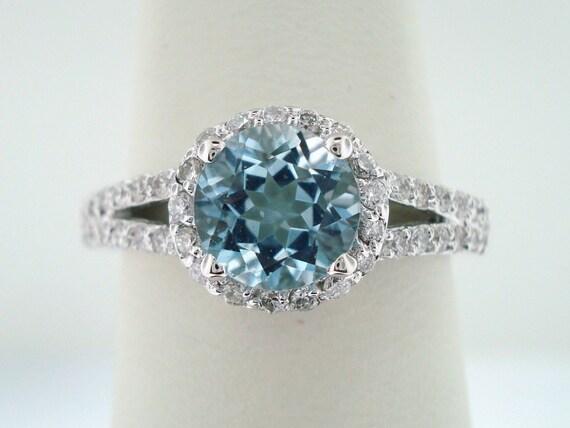 platinum aquamarine engagement ring 1 21 carat