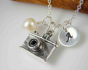 Camera Pendant Charm Necklace ALL STERLING SILVER Photographer Gift Idea Personalized Jewelry Photography Hand Stamped Jewelry