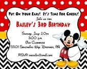 10 PRINTED Mickey Mouse Invitations with Envelopes.  Free Return Address Labels