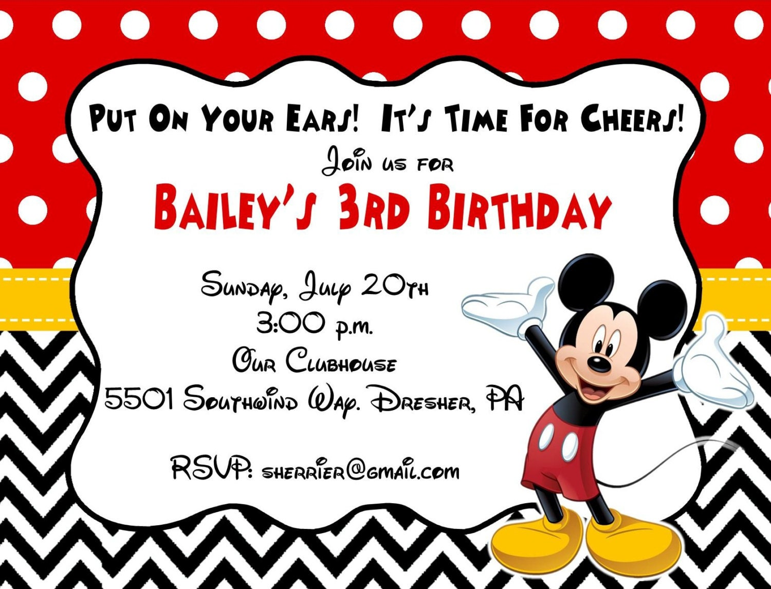This is a graphic of Hilaire Printable Mickey Mouse Invitations