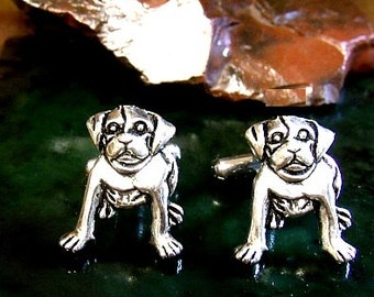 Pair of Pitbull Puppy Cufflinks in solid sterling silver Free Domestic Shipping