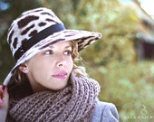 LEOPARD PRINT New Melazine Felt Cheetah Beige Hat  with Brown Spots Women Hand Blocked Handmade with Minimalistic Black Trim - EllaGajewskaHATS