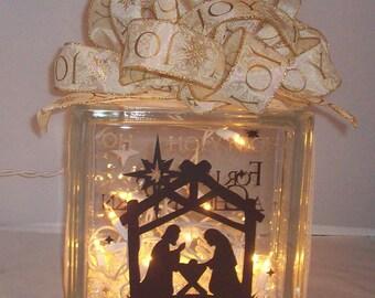 Christmas, religious, glass block, lights, nativity, gift, home, decor, snow