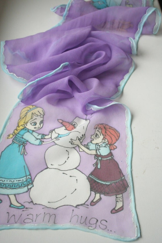 Girl's Scarf. Elsa Scarf. Sisters Scarf. Do you wanna build a snowman?  Princess Scarf. Princess Frozen. Hand Painted Silk.