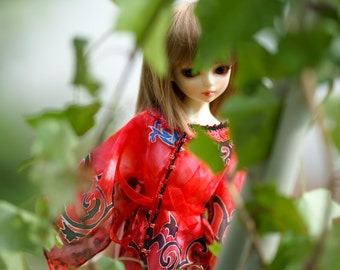 Silk red hippie tunic for MNF Unoa Dollfie Ooak Abstract MSD ball jointed doll dress Bjd dress