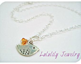 Sterling Silver Necklace, Bird Necklace, Birthstone Charm Jewelry, Personalized Jewelry