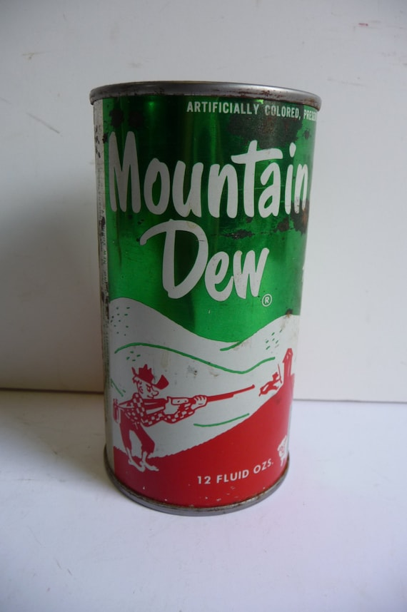 Vintage 1960 S Mountain Dew Steel Can Pull Tab Hillbilly