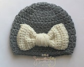 Bow Hat, Crochet Bow hat, crochet bow, crochet hat, crochet girl bow hat, girl hat, baby hat,
