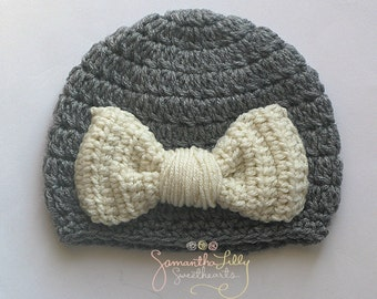 Bow Hat, Crochet Bow hat, crochet bow, crochet hat, crochet girl bow hat, girl hat, baby hat,