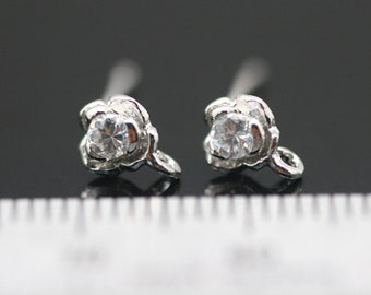 4pcs - rhodium plated over sterling silver post with crouch