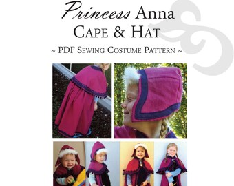 Princess Anna PDF cape and hat pattern, inspired by the Disney movie, Frozen