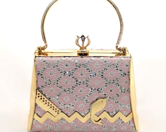 Midcentury Pink Lace and Gold Box Purse