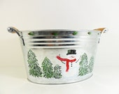 Ice Bucket Tub Snowman Hand Painted Galvanized Metal
