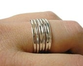 Sterling silver stacking rings layering rings thick stacking set of 6 Sterling silver ring stackable hammered ring