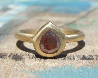 Pear Diamond Ring - Chocolate Diamond Ring - Solitaire Diamond Ring -  Brown Diamond Ring - Alternative Diamond Ring - Rose Cut Diamond Ring