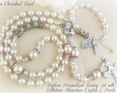 Catholic Baby Baptism Personalized Rosary Set with Birthstone Rhinestone Crystals & Pearls