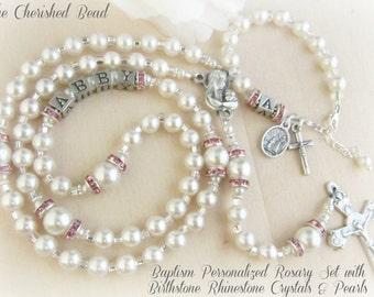 Catholic Baby Baptism Personalized Rosary Set with Birthstone Rhinestone Crystals & Pearls