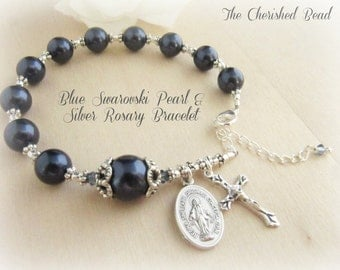 Beautiful Dark Blue Swarovski Pearl, Crystal and Silver Rosary Bracelet