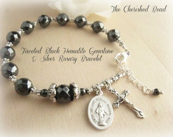 Beautiful Faceted Black Faceted Hematite Gemstone and Silver Rosary Bracelet