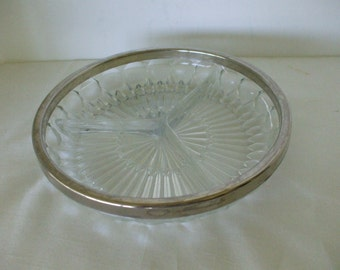 Silver Rimmed Cut Glass Divided Dish,  Serving,  Vintage, Gifts, Wedding,  #5446
