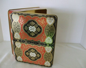 Square Tin, Made in England, Black Red Gold, Graphics  Hearts,  Gifts,  Storage,  #5400