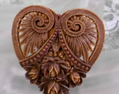 1930's Brown Celluloid Heart Rose Pin