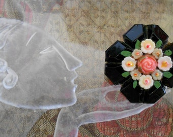 1940's Black Hand Painted Floral Pin