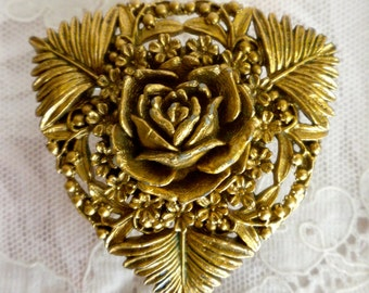 Gold Floral Celluloid Pin