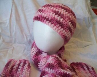Crocheted Hat, Scarf, Fingerless Gloves