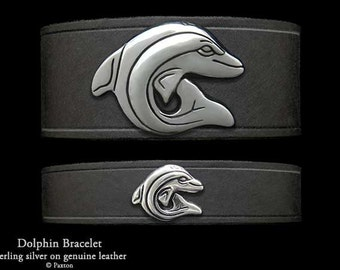Dolphin Leather Bracelet Sterling Silver Dolphin on Leather Bracelet