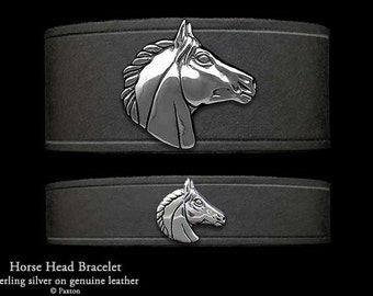 Horse Head Leather Bracelet Sterling Silver Horse Head on Leather Bracelet