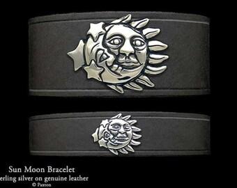 Sun Moon Leather Bracelet Sterling Silver Sun Moon on Leather Bracelet