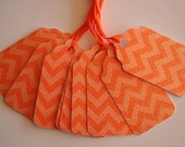 Tangerine Glittered Chevron Gift Tags (10)