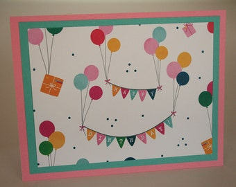 Birthday Card - Bunting and Balloons