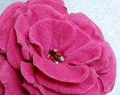 Flower Brooch or Hair Clip in Vibrant Pink Velvet