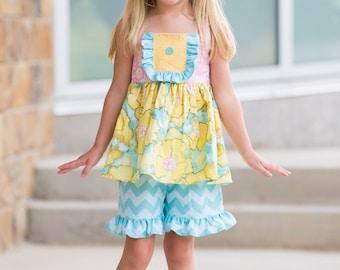 Girls Halter Top, Girls Yellow Poppy Reverse Tie Top, Girls Summer Top, Girls Beach Top, Girls Summer Dress, Girls  Sizes 12MO-8