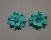 Aqua Passion Flower Earrings