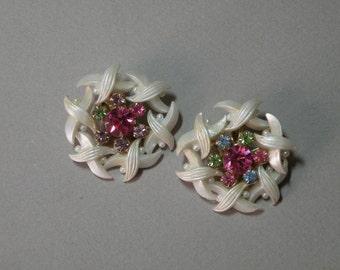 Vintage Rainbow Rhinestone Earrings