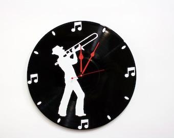 Trombone Wall Clock on Vinyl Record Album