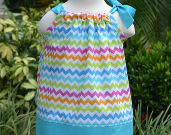 Summer Dress Toddler, Summer Chevron Pillowcase Dress - Rainbow Chevron Dress - multi colored - little girls dress, Easter outfit