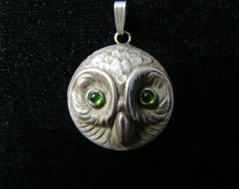 Adorable Sterling Silver Owl pendant with cabochon green tourmalines