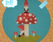 Gnomes cross stitch pattern. Needlepoint, tapestry pdf pattern. Woodland fairytale, instant download, digital epattern.