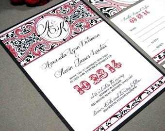 Romantic Wedding Invitation Suite - Victorian Wedding Invites - Carnival Wedding Pocket Folder - Black and Red Wedding Invitations Steampunk