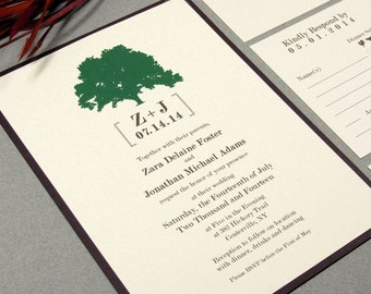 Wedding Invitations Rustic Tree Wedding Invite Modern Wedding Invitation  Suite Green And Brown Pocket Fold Trees