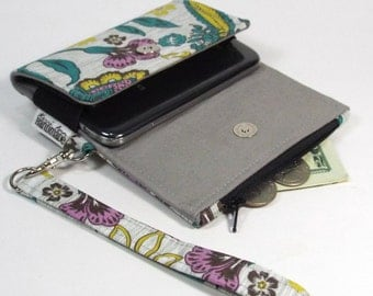 The Kaelyn Cell Phone Wallet - Wristlet - for iPhone/Android - Gray Sketchy Floral/Gray